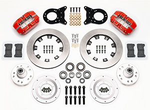 Wilwood Dynapro Dust-Boot Big Brake Front Brake Kit (Hub) Parts Laid Out - Red Powder Coat Caliper - Plain Face Rotor
