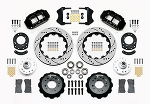 Wilwood Forged Narrow Superlite 6R Dust-Seal Big Brake Front Brake Kit (Hub) Parts Laid Out - Black Powder Coat Caliper - SRP Drilled & Slotted Rotor