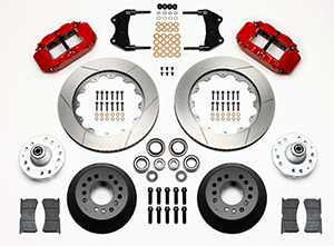 Wilwood Forged Narrow Superlite 6R Dust-Seal Big Brake Front Brake Kit (Hub) Parts Laid Out - Red Powder Coat Caliper - GT Slotted Rotor