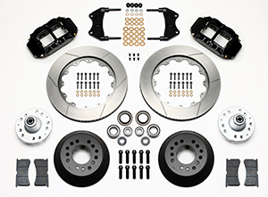 Wilwood Forged Narrow Superlite 6R Dust-Seal Big Brake Front Brake Kit (Hub) Parts Laid Out - Black Powder Coat Caliper - GT Slotted Rotor