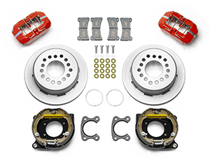 Wilwood Forged Dynapro Low-Profile Dust Seal Rear Parking Brake Kit Parts Laid Out - Red Powder Coat Caliper - Plain Face Rotor