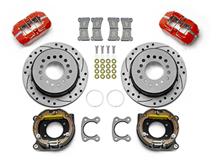 Wilwood Forged Dynapro Low-Profile Dust Seal Rear Parking Brake Kit Parts Laid Out - Red Powder Coat Caliper - SRP Drilled & Slotted Rotor
