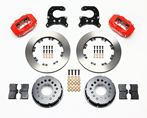 Wilwood Forged Dynalite Pro Series Rear Brake Kit Parts Laid Out - Red Powder Coat Caliper - Plain Face Rotor