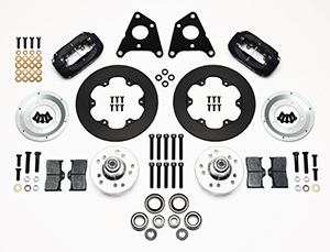 Wilwood Forged Dynalite Front Drag Brake Kit Parts Laid Out - Black Anodize Caliper - Plain Face Rotor