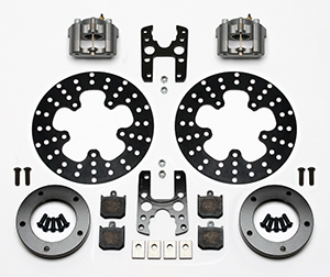 Wilwood Dynalite Single Floater Front Drag Brake Kit Parts Laid Out - Black Anodize Caliper - Drilled Rotor