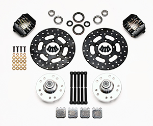 Wilwood Dynapro Single Front Drag Brake Kit Parts Laid Out - Type III Ano Caliper - Drilled Rotor