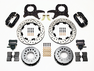 Wilwood Forged Dynalite Pro Series Rear Brake Kit w/P-Brake Parts Laid Out - Black Anodize Caliper - SRP Drilled & Slotted Rotor