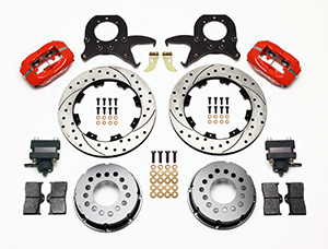 Wilwood Forged Dynalite Pro Series Rear Brake Kit w/P-Brake Parts Laid Out - Red Powder Coat Caliper - SRP Drilled & Slotted Rotor