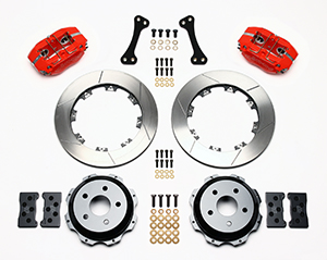Wilwood Dynapro Rear Brake Kit For OE Parking Brake Parts Laid Out - Red Powder Coat Caliper - GT Slotted Rotor