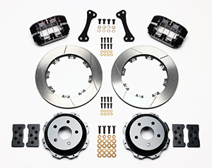 Wilwood Dynapro Rear Brake Kit For OE Parking Brake Parts Laid Out - Black Powder Coat Caliper - GT Slotted Rotor