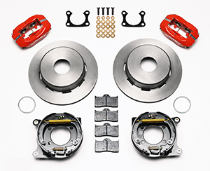 Wilwood Forged Dynalite Rear Parking Brake Kit Parts Laid Out - Red Powder Coat Caliper - Plain Face Rotor