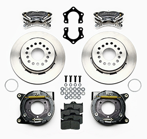 Wilwood Forged Dynalite Rear Parking Brake Kit Parts Laid Out - Polish Caliper - Plain Face Rotor