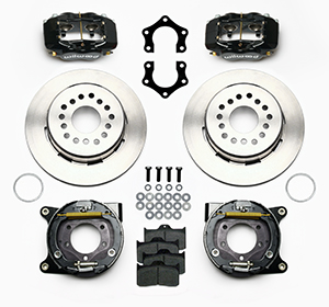 Wilwood Forged Dynalite Rear Parking Brake Kit Parts Laid Out - Black Anodize Caliper - Plain Face Rotor