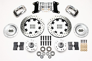 Wilwood Forged Dynalite Big Brake Front Brake Kit (Hub) Parts Laid Out - Polish Caliper - SRP Drilled & Slotted Rotor