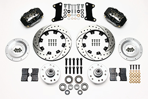 Wilwood Forged Dynalite Big Brake Front Brake Kit (Hub) Parts Laid Out - Black Anodize Caliper - SRP Drilled & Slotted Rotor