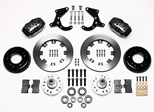 Wilwood Forged Dynalite Big Brake Front Brake Kit (Hub) Parts Laid Out - Black Anodize Caliper - Plain Face Rotor