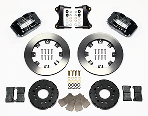Wilwood Dynapro Radial Big Brake Front Brake Kit (Hat) Parts Laid Out - Black Powder Coat Caliper - Plain Face Rotor