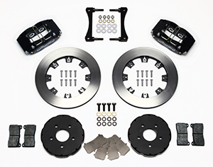 Wilwood Dynapro Radial Big Brake Front Brake Kit (Hat) Parts Laid Out - Black Anodize Caliper - Plain Face Rotor