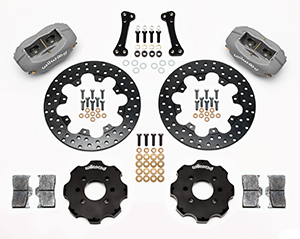 Wilwood Forged Dynalite Front Drag Brake Kit (Hat) Parts Laid Out - Black Anodize Caliper - Drilled Rotor