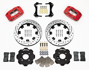 Wilwood Dynapro Radial Big Brake Front Brake Kit (Hat) Parts Laid Out - Red Powder Coat Caliper - SRP Drilled & Slotted Rotor