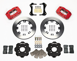 Wilwood Dynapro Radial Big Brake Front Brake Kit (Hat) Parts Laid Out - Red Powder Coat Caliper - Plain Face Rotor