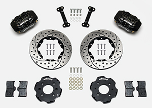 Wilwood Forged Dynalite Big Brake Front Brake Kit (Hat) Parts Laid Out - Black Powder Coat Caliper - SRP Drilled & Slotted Rotor