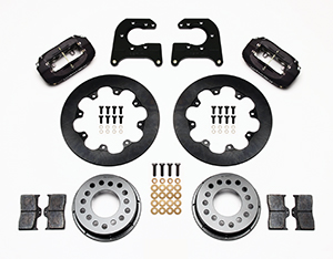 Wilwood Forged Dynalite Rear Drag Brake Kit Parts Laid Out - Black Anodize Caliper - Plain Face Rotor