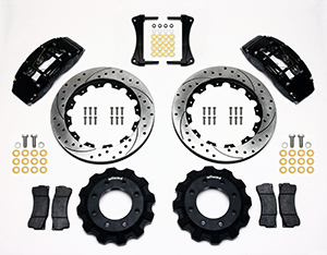 Wilwood TC6R Big Brake Truck Front Brake Kit Parts Laid Out - Black Powder Coat Caliper - SRP Drilled & Slotted Rotor