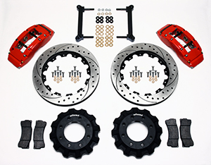 Wilwood TC6R Big Brake Truck Front Brake Kit Parts Laid Out - Red Powder Coat Caliper - SRP Drilled & Slotted Rotor