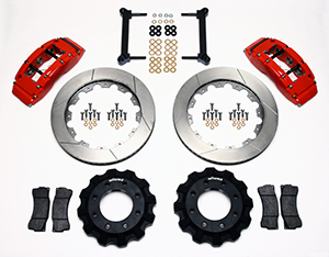 Wilwood TC6R Big Brake Truck Front Brake Kit Parts Laid Out - Red Powder Coat Caliper - GT Slotted Rotor