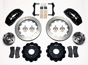 Wilwood TC6R Big Brake Truck Front Brake Kit Parts Laid Out - Black Powder Coat Caliper - GT Slotted Rotor