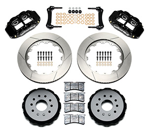 Wilwood Forged Narrow Superlite 4R Big Brake Rear Brake Kit For OE Parking Brake Parts Laid Out - Black Powder Coat Caliper - GT Slotted Rotor