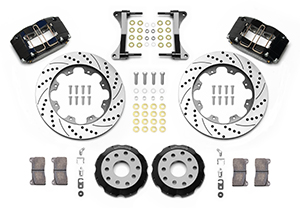 Wilwood Dynapro Radial Big Brake Front Brake Kit (Hat) Parts Laid Out - Black Anodize Caliper - SRP Drilled & Slotted Rotor