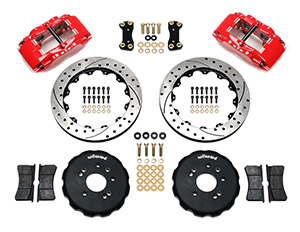 Wilwood Forged Superlite 4 Big Brake Front Brake Kit (Hat) Parts Laid Out - Red Powder Coat Caliper - SRP Drilled & Slotted Rotor
