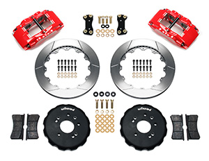 Wilwood Forged Superlite 4 Big Brake Front Brake Kit (Hat) Parts Laid Out - Red Powder Coat Caliper - GT Slotted Rotor