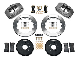 Wilwood Forged Superlite 4 Big Brake Front Brake Kit (Hat) Parts Laid Out - Black Anodize Caliper - GT Slotted Rotor