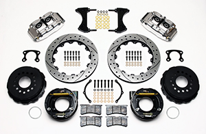 Wilwood Forged Narrow Superlite 4R Big Brake Rear Parking Brake Kit Parts Laid Out - Polish Caliper - SRP Drilled & Slotted Rotor
