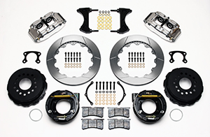 Wilwood Forged Narrow Superlite 4R Big Brake Rear Parking Brake Kit Parts Laid Out - Polish Caliper - GT Slotted Rotor