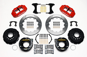 Wilwood Forged Narrow Superlite 4R Big Brake Rear Parking Brake Kit Parts Laid Out - Red Powder Coat Caliper - GT Slotted Rotor