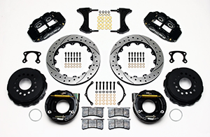 Wilwood Forged Narrow Superlite 4R Big Brake Rear Parking Brake Kit Parts Laid Out - Black Powder Coat Caliper - SRP Drilled & Slotted Rotor