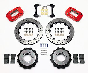 Wilwood Dynapro Radial Rear Brake Kit For OE Parking Brake Parts Laid Out - Red Powder Coat Caliper - SRP Drilled & Slotted Rotor