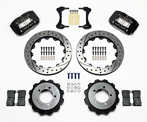 Wilwood Dynapro Radial Rear Brake Kit For OE Parking Brake Parts Laid Out - Black Powder Coat Caliper - SRP Drilled & Slotted Rotor