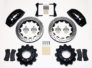 Wilwood TC6R Big Brake Truck Rear Brake Kit Parts Laid Out - Black Powder Coat Caliper - SRP Drilled & Slotted Rotor