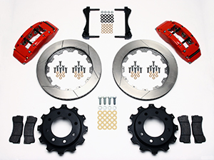 Wilwood TC6R Big Brake Truck Rear Brake Kit Parts Laid Out - Red Powder Coat Caliper - GT Slotted Rotor