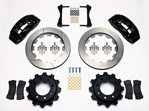 Wilwood TC6R Big Brake Truck Rear Brake Kit Parts Laid Out - Black Powder Coat Caliper - GT Slotted Rotor