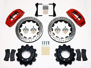 Wilwood TC6R Big Brake Truck Rear Brake Kit Parts Laid Out - Red Powder Coat Caliper - SRP Drilled & Slotted Rotor