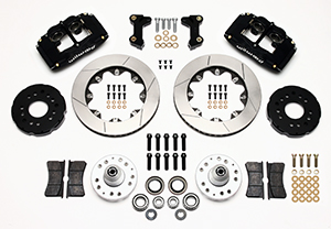 Wilwood Forged Superlite 4 Big Brake Front Brake Kit (Hub) Parts Laid Out - Black Anodize Caliper - GT Slotted Rotor