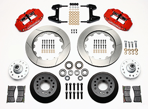 Wilwood Forged Narrow Superlite 6R Big Brake Front Brake Kit (Hub) Parts Laid Out - Red Powder Coat Caliper - GT Slotted Rotor