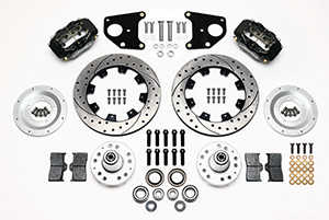 Wilwood Forged Dynalite Big Brake Front Brake Kit (Hub) Parts Laid Out - Black Powder Coat Caliper - SRP Drilled & Slotted Rotor