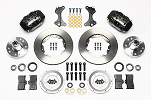 Wilwood Forged Dynalite Pro Series Front Brake Kit Parts Laid Out - Black Anodize Caliper - Plain Face Rotor